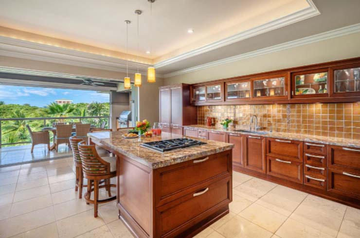 gourmet kitchen with island seating for 6