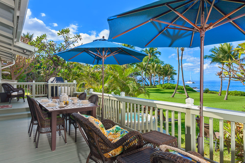 Deck, umbrellas, and ocean view