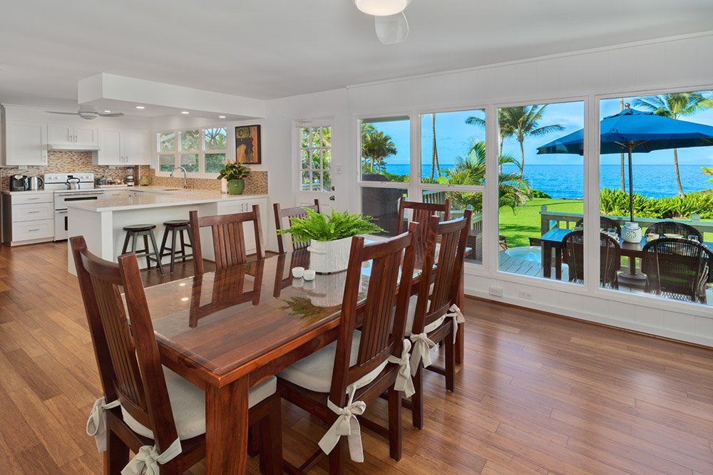 Dining table and chairs, ocean view