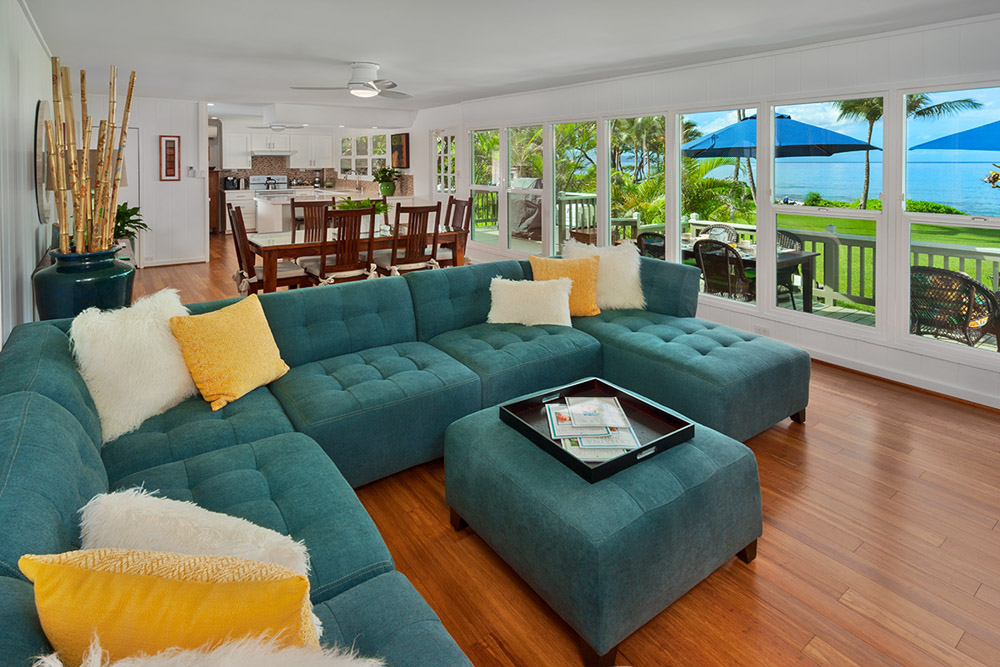 Living room, sofas, ocean view