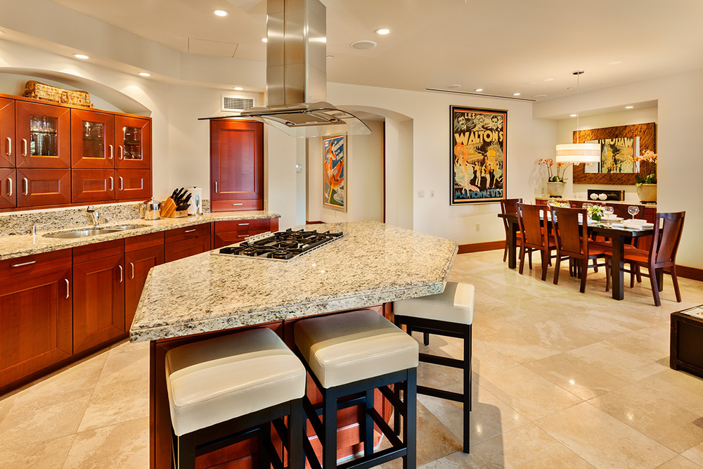 Kitchen, gas range, island counter